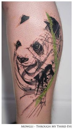 Panda tattoo titled 'Tranquil Eyes' on Harold.