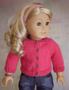 "Cardigan Knit Pattern for AG 18"" doll with step by step instructions and photos."