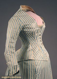 Striped silk dress with day bodice (front detail), by Emile Pingat, French, 1880s.
