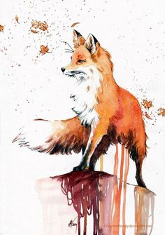 Watercolor fox painting #art