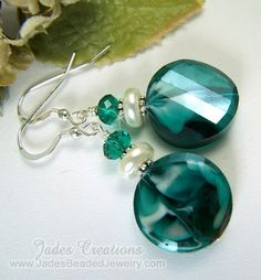 Jade's+Creations+Handcrafted+Beaded+Jewelry | Turquoise Twisted Glass Beaded Earrings by Jades Creations Great Color