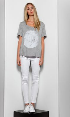 Bree Moonlight Tee by SASS | Women's Tops Online | @ alibiOnline   This graphic print tee is ideal for weekend styling, whether you're heading to a coffee date or a day out shopping. Add a denim jacket or shirt and knee length shorts for a stylish look.