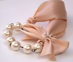 Carrie Bradshaw  Inspired Pearl Necklace In Nude by vintagebynina