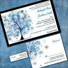 Invitation de mariage arbre d'hiver - Winter Wonderland Custom Suite avec RSVP cartes et étiquettes d'adresse
