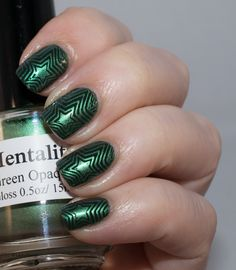 Lacky Corner: Green on Green! The base is Orly Enchanted Forest and the pattern comes from MoYou London Back to the 80s 02 stamped with Mentality Green Opaque.