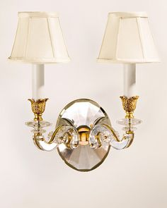 crystal sconces - antique brass and crystal sconce