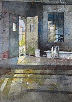 "Side Door by Richard Sneary Watercolor ~ 10"" x 7"""