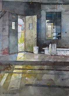 "Side Door by Richard Sneary Watercolor ~ 10"" x 7"""