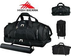 """New High Sierra Colossus 26"""" Drop Bottom Black Duffel Bag Hidden Backpack Straps #HighSierra"""