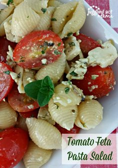 Tomato Feta Pasta Salad is quick to make – just a handful of ingredients – and full of flavor! What you don't have on hand, you can easily pick up at the grocery store.