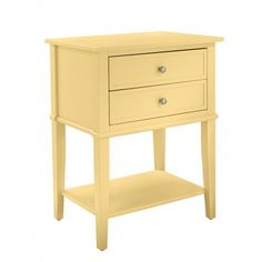 Ameriwood Home Franklin Accent Table 2 Drawers, Yellow Yellow Accent Table Table Furniture, Bedroom Furniture, Apartment Furniture, Metal Furniture, Kitchen Furniture, Furniture Sets, Furniture Design, Side Table With Storage, Yellow Accents
