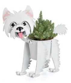 """Mini Westie - Dog indoor or outdoor (garden) décor plant stands. Holds 4"""" grower pot - 11"""" inches tall Kathys Show Tack http://www.amazon.com/dp/B004KP7I06/ref=cm_sw_r_pi_dp_7iyuub1530AD2"""