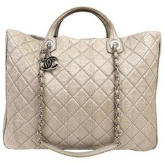 Preowned Chanel Taupe Python Large Shopper Tote