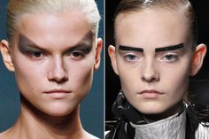 eyebrows on the right. use black tape? French Chic, Ann Demeulemeester, Rick Owens, Eyebrows, Hair Makeup, Make Up, Eyes, Tape, Black