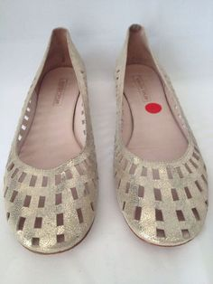 Rebecca Taylor / 9.5M / Shoes Flats Wedge Perforated Gold Leather Ballerina / by thesidewalkrunway / eBay