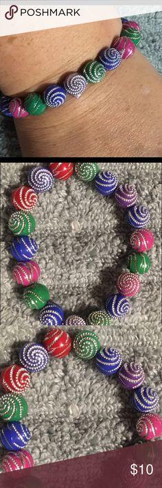 Awesome Handmade Mardi Gras Bracelet Support Handmade! Jewelry Bracelets