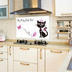 Cica csempe dekoráció Wall Sticker, Kitchen Cabinets, Smoke, Stickers, Princess, Home Decor, Black, Decoration Home, Room Decor