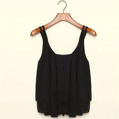 Delicate Hot! 3 Colors Women Summer Clothing Bilayer Sleeveless Shirt Chiffon Loose Vest Tank Tops Blouse Jul13 norcx #Dresses #Tees