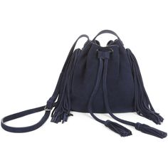 BCBGMAXAZRIA Faye Suede Fringe Bucket Bag (230 CAD) ❤ liked on Polyvore featuring bags, handbags, shoulder bags, purses, navy, purse, accessories handbags, genuine leather purse, leather shoulder bag and genuine leather handbags