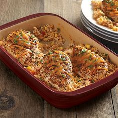 Fiesta Chicken and Rice Bake - The Pampered Chef® This is amazing! Stir the rice, corn, chicken stock and salsa in the stone.no extra dishes needed for prep work! My family loved it! Healthy Recipes, New Recipes, Dinner Recipes, Easy Recipes, Favorite Recipes, Pureed Recipes, Rock Crock Recipes, Recipies, Dinner Ideas