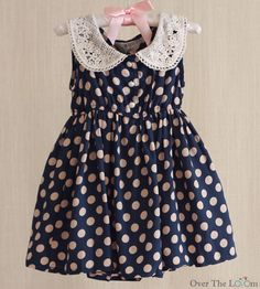Over the Loom - Polka Dot Lace Collar Dress ~ Navy, $28.00 (http://www.overtheloom.com/toddler-girl-1-5-yrs/dresses/polka-dot-lace-collar-dress-navy/)