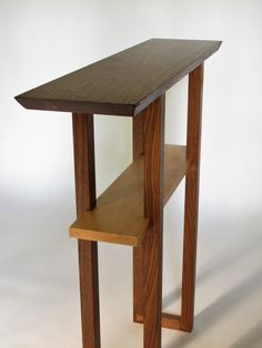 A narrow 8 inch table for an entry table or hall table- handmade from walnut and tiger maple