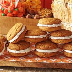 Pumpkin Whoopie Pies Recipe -My kids start begging me for these cakelike sandwich cookies as soon as autumn arrives. I haven't met a person yet who doesn't like these fun treats. —Deb Stuber, Carlisle, Pennsylvania