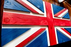 Union Jack Wood Flag, UK wooden flag, wall art by Patriot Wood Wooden Pallet Crafts, Pallet Art, Wood Crafts, Diy And Crafts, Easy Woodworking Projects, Woodworking Plans, Wood Projects, Deco Design, Flag Design
