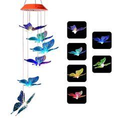 Solar Wind Chime Butterfly Light LED Garden Colorful Waterproof Hallway Lamp UK