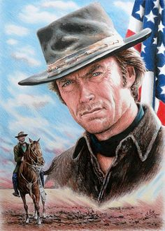 Clint Eastwood --American Legend Drawing --by Andrew Read ~ colored pencil on white card