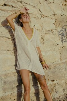 Sexy AGORA Hand woven KAFTAN dress in Golden crochet · Pure linen and Viscose - Mèrit Orlando · Handcrafted in Ibiza Author Slowfashion Slow Fashion, Boho Dress, Ibiza, Orlando, Organic Cotton, Hand Weaving, Short Sleeve Dresses, Author, Kaftan