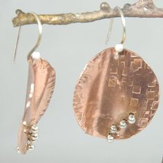 Shoply.com -Round Leaf - Earrings - Mixed Metal, Sterling and Copper. Only $29.95