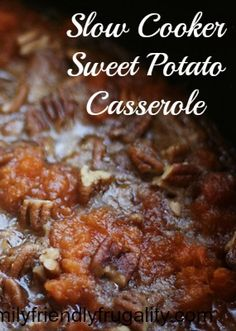 Slow Cooker Sweet Potato Casserole is a tasty side dish for any meal!