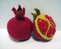 Fruit Crochet Pattern Pomegranate Crochet Pattern PDF Instant Download Crochet Food Pattern Pomegranate (Fruit - whole and cut)