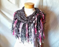 Black and Pink triangle scarf Ribbon fringe by 910woolgathering