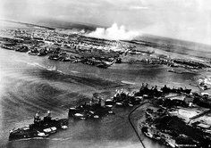 Attack on 'Battleship Row' of Pearl Harbor, seen from a Japanese aircraft, 7 Dec 1941