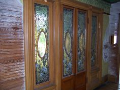 The stained glass doors to the Daisy Bedroom where Sarah Winchester was trapped after the great San Francisco earthquake. She had this part of the house sealed up and never used that bedroom again.