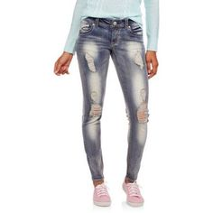 No Boundaries Juniors' Thick Stitch Skinny Jeans with Backflap Pockets, Size: 3