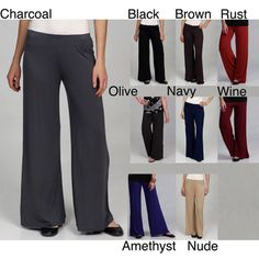 @Overstock - These Palazzo pants from 24/7 Comfort Apparel feature an elastic waistband and soft construction for a comfortable, flattering fit. A wide-leg design adds to the versatility of these stylish pants.http://www.overstock.com/Clothing-Shoes/24-7-Comfort-Apparel-Womens-Palazzo-Wide-leg-Pants/5834937/product.html?CID=214117 $25.99