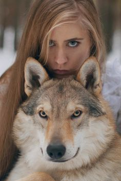 Powerful wolf Surreal portraits featuring wild animals by Katerina Plotnikova - Moscow-based photographer Wolf Spirit, Spirit Animal, Photography Women, Animal Photography, Photography Of People, Beautiful Creatures, Animals Beautiful, Beautiful Women, Simply Beautiful
