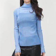2016 Homemade Spring Slight See Through Embossing Pattern Turtleneck Base Long Sleeve Shirt Women