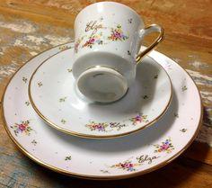 Conjunto de chá, pintado a mão.