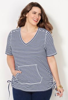 Striped Side Ruched Tee-Plus Size Tee-Avenue