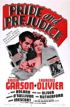 Pride and Predjudice (One-Sheet movie poster featuring Laurence Olivier as Mr. Darcy and Greer Garson as Elizabeth Bennet.) via Turner Classic Movies