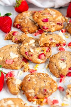 White Chocolate Strawberry Rhubarb Cookies - Soft and chewy spring inspired cookies with fresh rhubarb, strawberries, and white chocolate chunks. Chocolate Chip Cookies, Raspberry White Chocolate Cookies, White Chocolate Strawberries, Strawberry Muffins, Strawberry Recipes, Rhubarb Cookies, Rhubarb Oatmeal, Cookie Recipes, Dessert Recipes