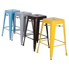 Chintaly Tremont 30 in. Galvanized Steel Backless Bar Stools - Set of 4 - CTY1352-10
