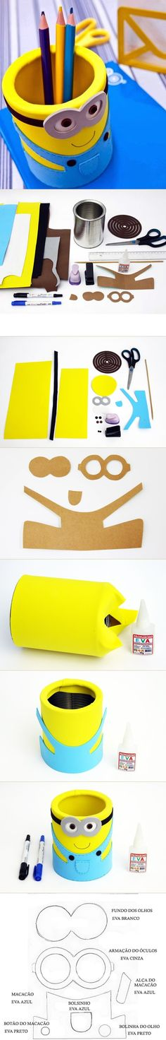 DIY EVA Minion Pencil Organizer from Can. This would also be adorable if you made the minion from one of those foam can holders and then slipped it on a container Kids Crafts, Cute Crafts, Crafts To Do, Craft Projects, Arts And Crafts, Craft Ideas, Felt Crafts, Easy Crafts, Diy Ideas