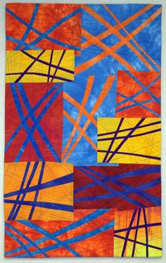 """I'm pleased to announce that my quilt, Jet Trails was selected to be exhibited in """"Art Quilts XVI: Something to Say"""" at the Chandler Cen. 3d Quilts, Small Quilts, Neutral Quilt, Stained Glass Quilt, Contemporary Quilts, Quilt Modern, Tree Quilt, Art Textile, Traditional Quilts"""