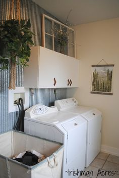~Irishman Acres~: Our Farmhouse Laundry Room: barn tin, vintage laundry cart, leather handles