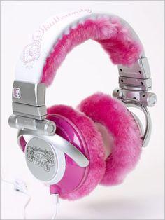 Pink fluffy headphones!